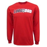 Men's Port & Company LS T-Shirt UNM DAD Lobos Shield Red