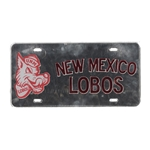 License Plate Old School Louie NM Lobos Silver