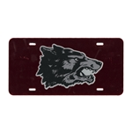 License Plate Old School Wolf Red