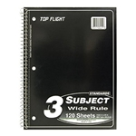 Top Flight 3 Subject College Ruled Notebook 120 Sheets