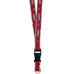 Metallic Ribbon Lanyard Lobos Shield Red