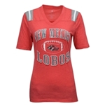Women's Colosseum V-Neck T-Shirt NM Lobos Red