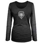 Women's 3/4 Tee UNM Shield Grey