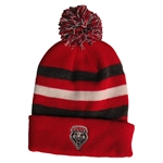 Youth Logofit Beanie UNM Shield Red Grey White With Pom