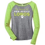 Women's CI Sport 3/4 Tee University Of New Mexico Lobos & Paw Lime Green