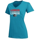 women's Twin Enterprises T-Shirt Lobos Vintage Side Wolf Turqoise
