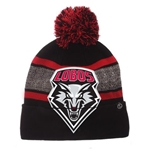 Zephyr Beanie UNM Shield With Pom Black