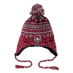 Zephyr Beanie UNM Shield With Pom Pom Grey & Red