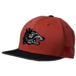 Men's Top Of World Snapback Vintage Side Wolf Red & Black