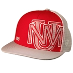 Men's Top of World Mesh Cap UNM Interlocking Logo White & Red