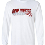Men's Russell Long Sleeve T-Shirt New Mexico Lobos Side Wolf White