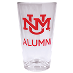 R&D Pint Glass UNM Logo Alumni Red