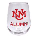 R&D Wine Glass UNM Logo Alumni Red