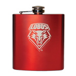 6 Oz Flask Lobo Shield Red