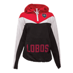 Women's Zoozatz 1/4 Zip Jacket Windbreaker Lobos Lobo Shield Red/Black