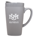 16oz Fan Ceramic Mug UNM Interlocking Gray