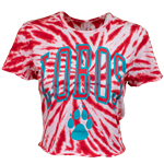 Women's ZooZatz Tie Dye Crop Shirt Lobos Paw Red & White