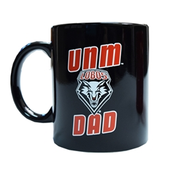 R&D Mug UNM Dad Lobos Shield Black