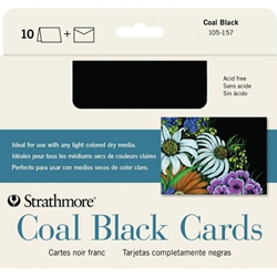 "Strathmore Coal Black Cards 5""x6.88"" 10 Pack"