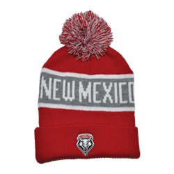 LogoFit Pom Pom Beanie New Mexico Lobos Shield Red