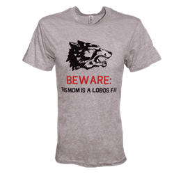 Women's CI Sport T-shirt Beware Mom Lobo Fan Side Wolf Gray