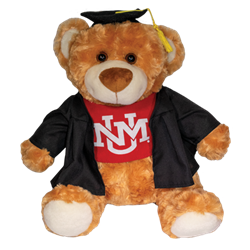 Plush Graduation Teddy Bear UNM Interlocking Brown